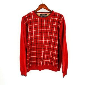 vintage | Tommy Hilfiger Red Plaid Front Sweater
